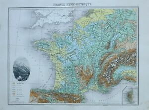 Mont Blanc France Map.1890 Hand Coloured Map France Land Heights Plateau Mont Blanc