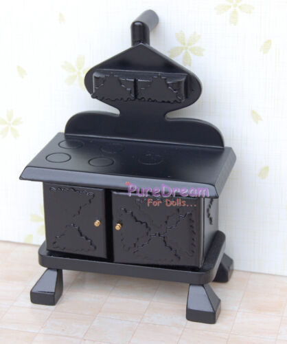 Vintage Dollhouse Miniature Kitchen Cook Stove Black Kitchen furniture WD024