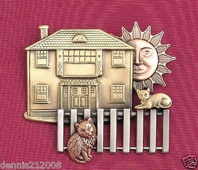 Beautiful tri tone pewter by K & T Pins with personality house cats brooch