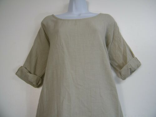 LAGENLOOK 70/% LINEN 30/%COTTON 3//4SLEEVE LIGHT WEIGHT TOP 10 COLS ONE SIZE 12-16