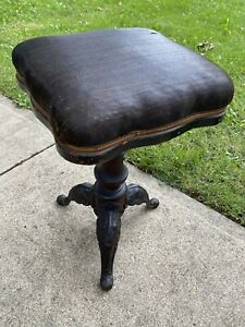 Antique-HD-Bentley-Piano-Organ-Cushion-Stool-Chair-NICE-wood-cast-iron