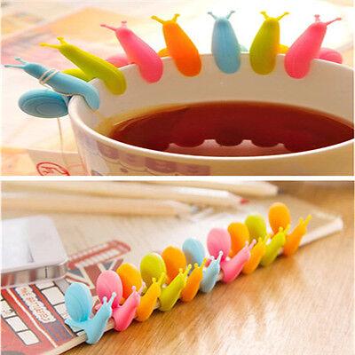 Beautiful Candy Colors Lots 5pcs Snail Shape Silicone Tea Bag Holder Cup Mug FT
