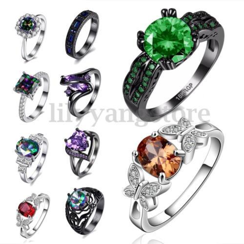 Size 6-9 Black 18K Gun Plated Heart Zircon /& Crystal Women Rings Jewelry