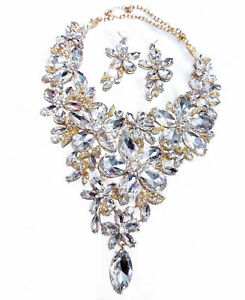Large-Breastshield-Bib-Necklace-Rhinestone-Crystal-Earrings-Drag-6-In-Drop-Clear