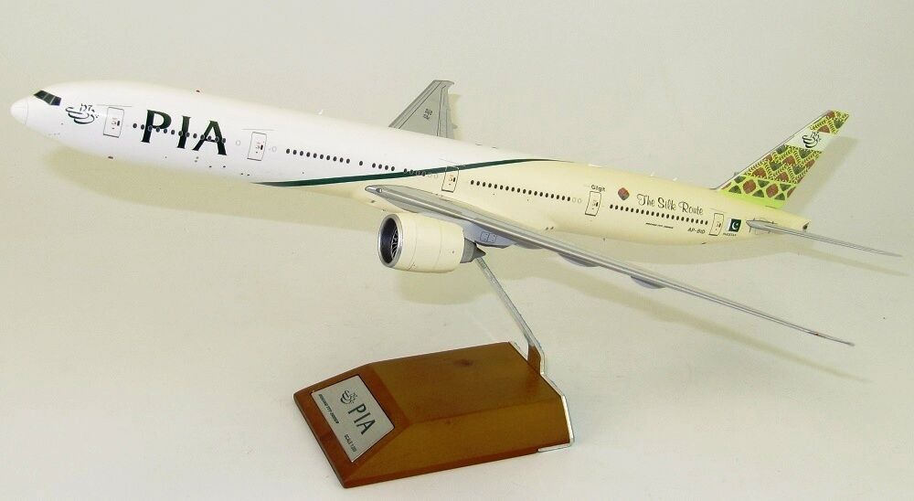 JC WINGS LH2037 1 200 PIA B777-300ER THE SILK ROUTE AP-BID WITH STAND