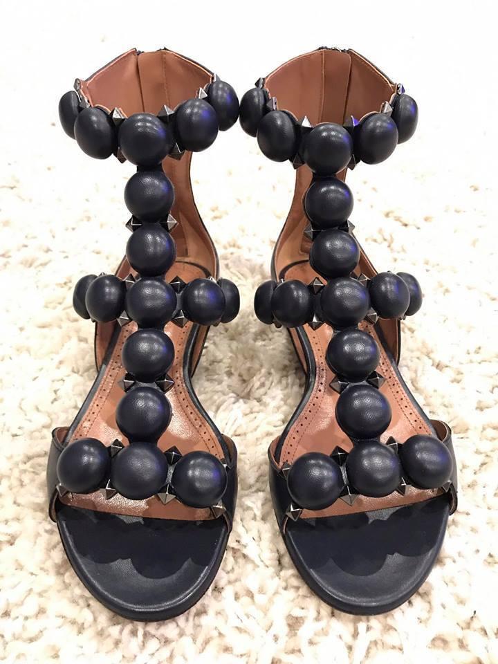 NIB Alaia Bombe bluee Marine Leather Pom Pom Studded Caged Sandal Flat 36  1380