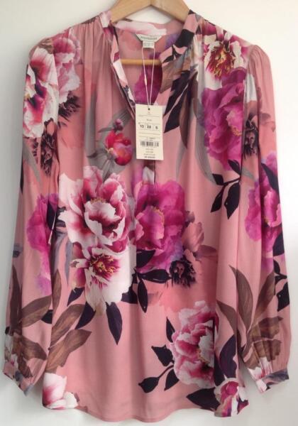 100% De Calidad Monsoon-lydia Hortensia Camisa De Impresión (nuevo Con Etiqueta) Rosa Mix-tamaño -10-ver