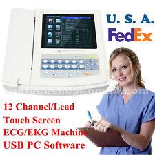 Portable Digital 12 Channellead Ecgekg Machinetouch Screen Electrocardiograph
