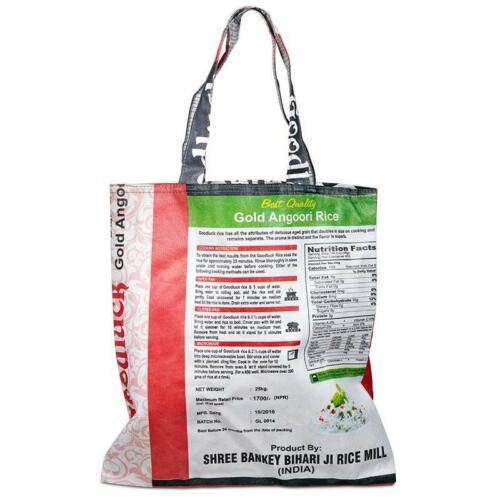 Einkaufstasche aus wiederverwerteten Reissäcken 39x38 cm