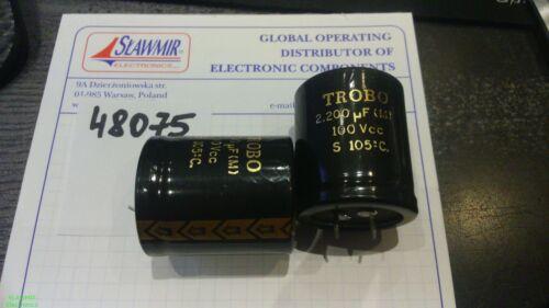 TROBO 2200uF100V 105C 35x40 ERS100SU2200 Snap-in Electrolytic Capacitor 2pcs