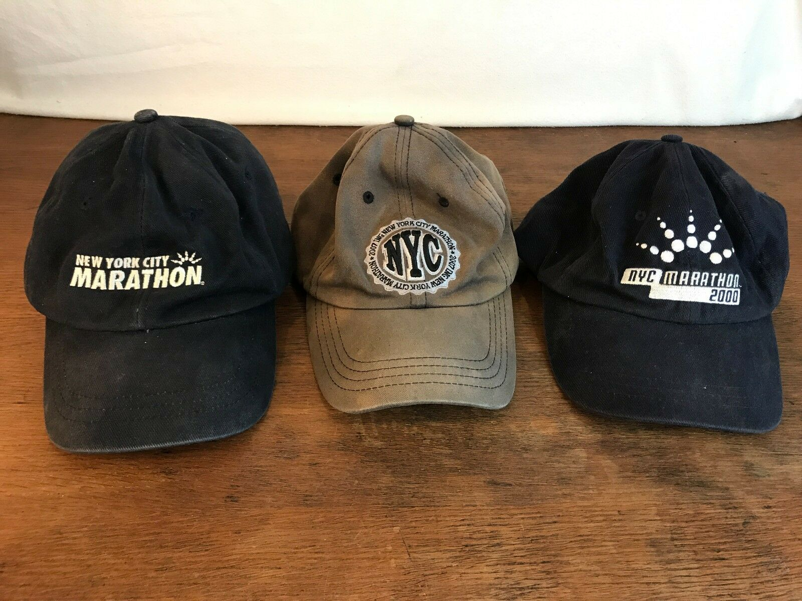Men's Lot Collectible of 3 Collectible Lot Distressed NYC Marathon Adjustable Caps Hats CH8 4b6dee
