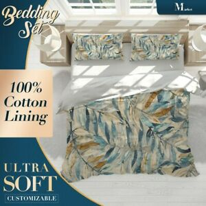 Leaves-Floral-Patterns-Blue-Quilt-Cover-Double-Bed-Single-Queen-King-Size
