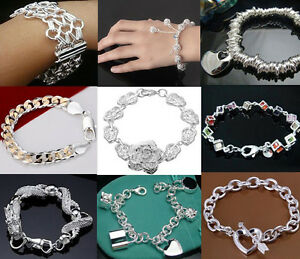 Wholesale-Fashion-jewelry-SILVER-Women-039-s-amp-Men-039-s-Bracelet-bangle-amp-Box-for-Gift
