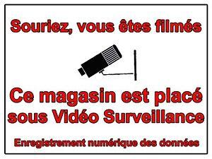 signaletique commerce souriez vous etes film s video surveillance 10x15cm ebay. Black Bedroom Furniture Sets. Home Design Ideas