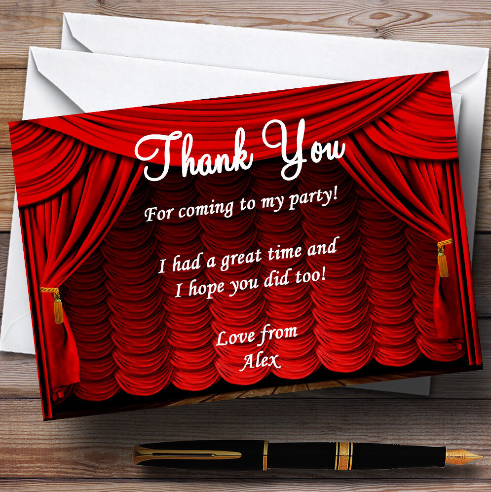 rot Theatre Curtains Stage Personalised Party Thank You Cards