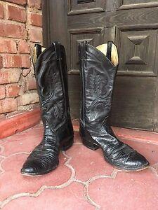 6bc24b95b25 Details about Classic Vintage Larry Mahan Black Lizard Skin Leather Cowboy  Boots Men's 10.5D
