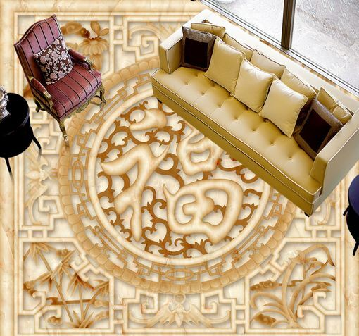 3D Carving 18 Fond d'écran étage Peint en Autocollant Murale Plafond Chambre Art