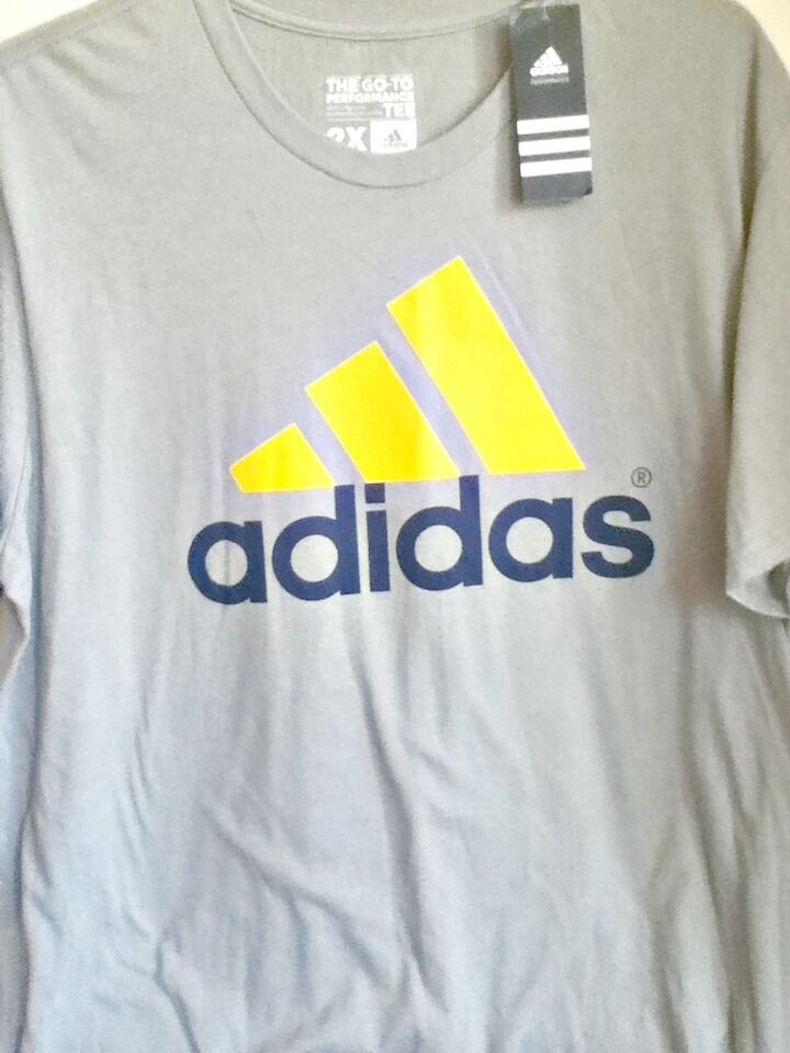 AUTHENTIC ADIDAS CLIMALITE LOGO THE GO TO PERFORMANCE GRY YEL NVY T SHIRT 4861A