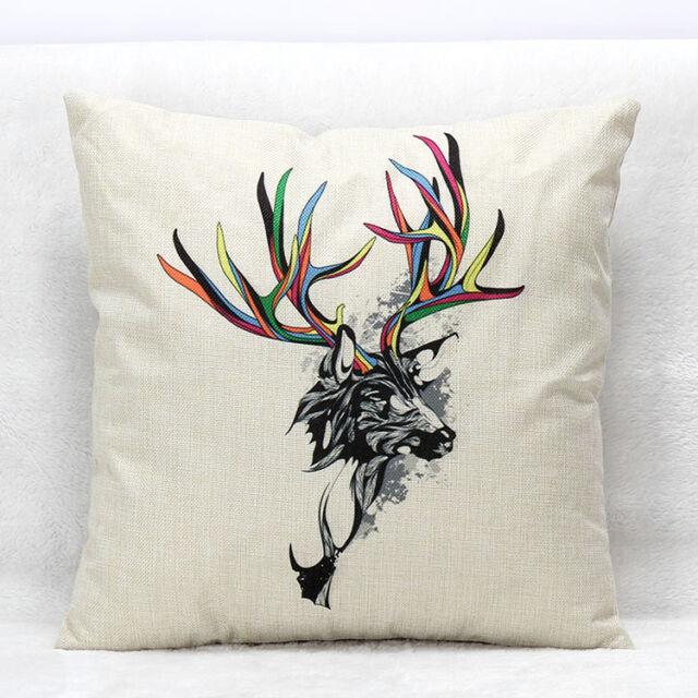 Colorful Animals Cotton Linen Pillow Case Sofa Throw Cushion Cover Home Decor
