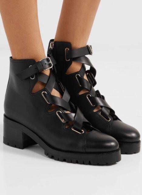 96079e7420c877 valentino Garavani Black Leather Combat Lace-up BOOTIES Italy 595 ...