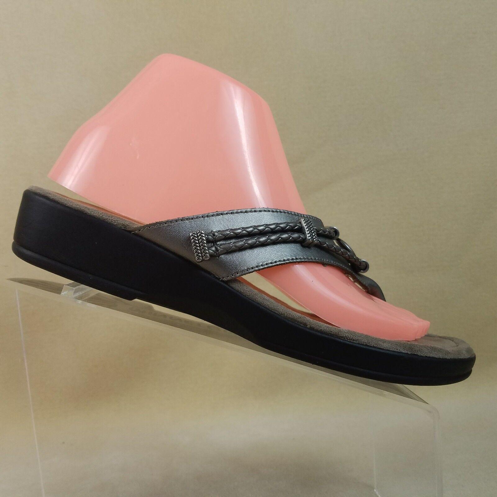 Minnetonka Womens Pewter Leather Silver Metallic Sandals Flip Flop Size 8 #E64