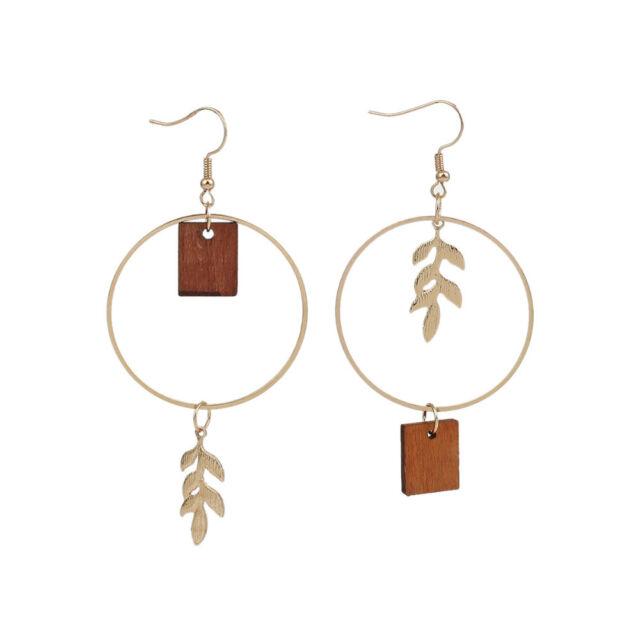 Fashion Round Ear Hook Gold Metal Leaves Wood Drop Earrings Asymmetric Jewelry