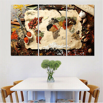 3 Piece World Map Painting On Canvas Print Home Decoration