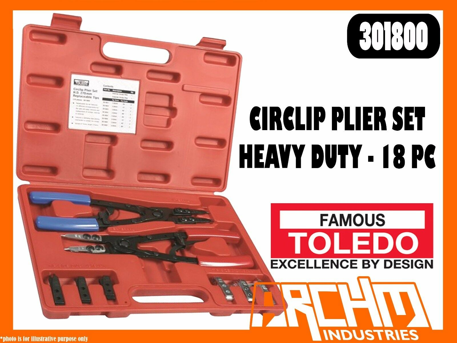 TOLEDO 301800 - CIRCLIP PLIER SET HEAVY DUTY 18 PC - UNIVERSAL INTERNAL EXTERNAL