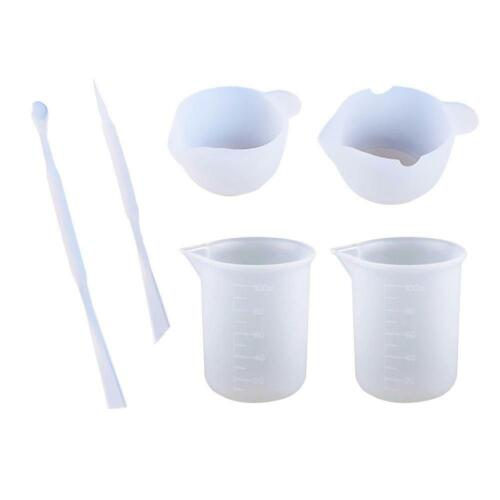 6 Pack Silicone Epoxy Resin Mixing Cups Stirrers DIY Tools Kits Measuring Cup☆HX