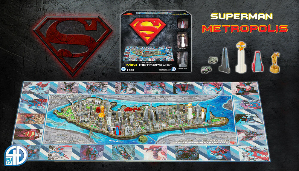 4D Cityscape Superman - Metropolis - Mini Puzzle 833 Pieces - Nip