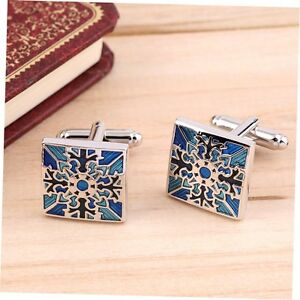 1 Pair Classic Mens Wedding Party Gift Shirt Square Blue Cufflinks Cuff Links GU