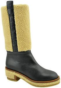 9a372e2e0abe CHANEL Black Calf Leather FUR Biker Riding Knee High Boots Shoes ...