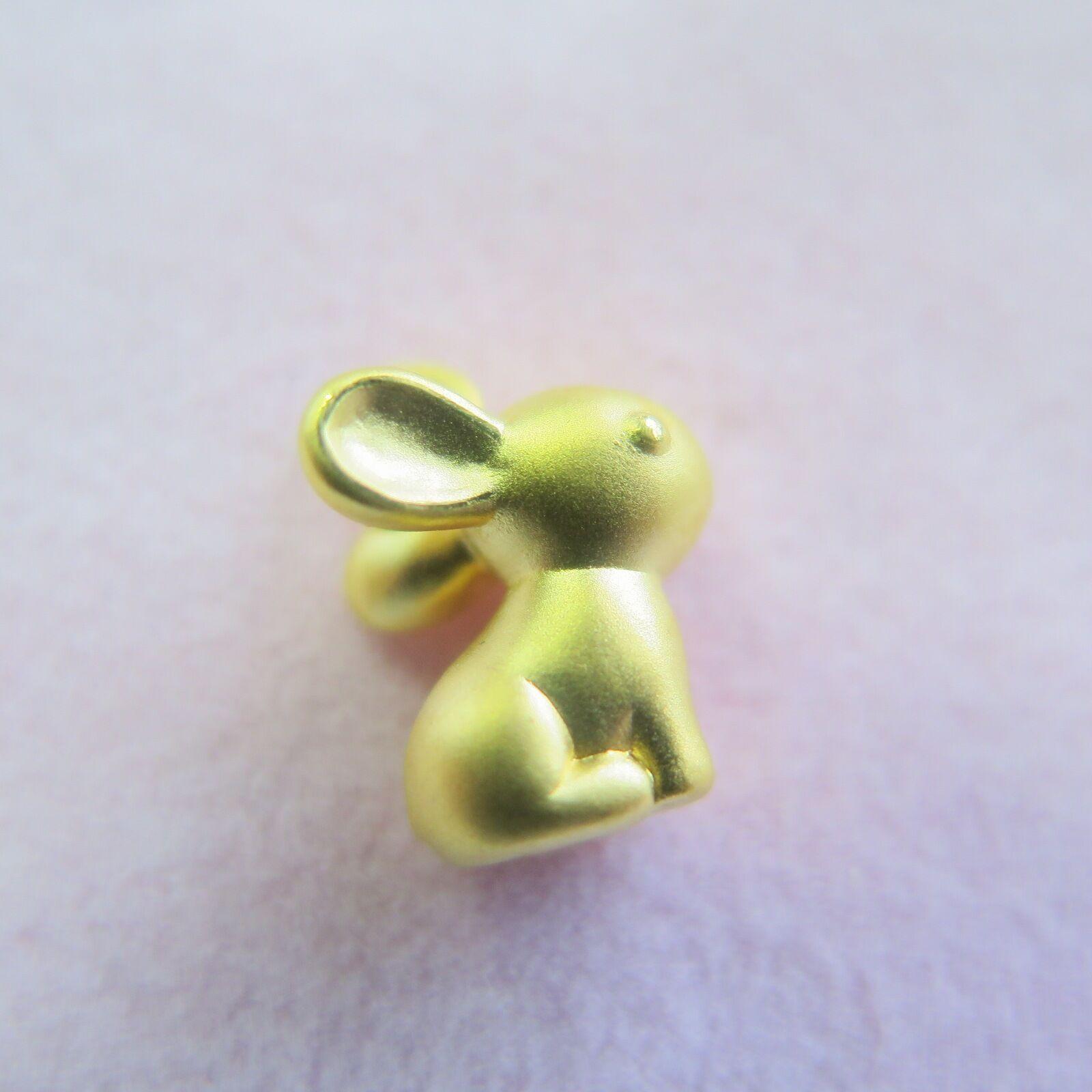 Real Pure 999 24k Yellow gold Pendant    3D Cute Rabbit Pendant   1g
