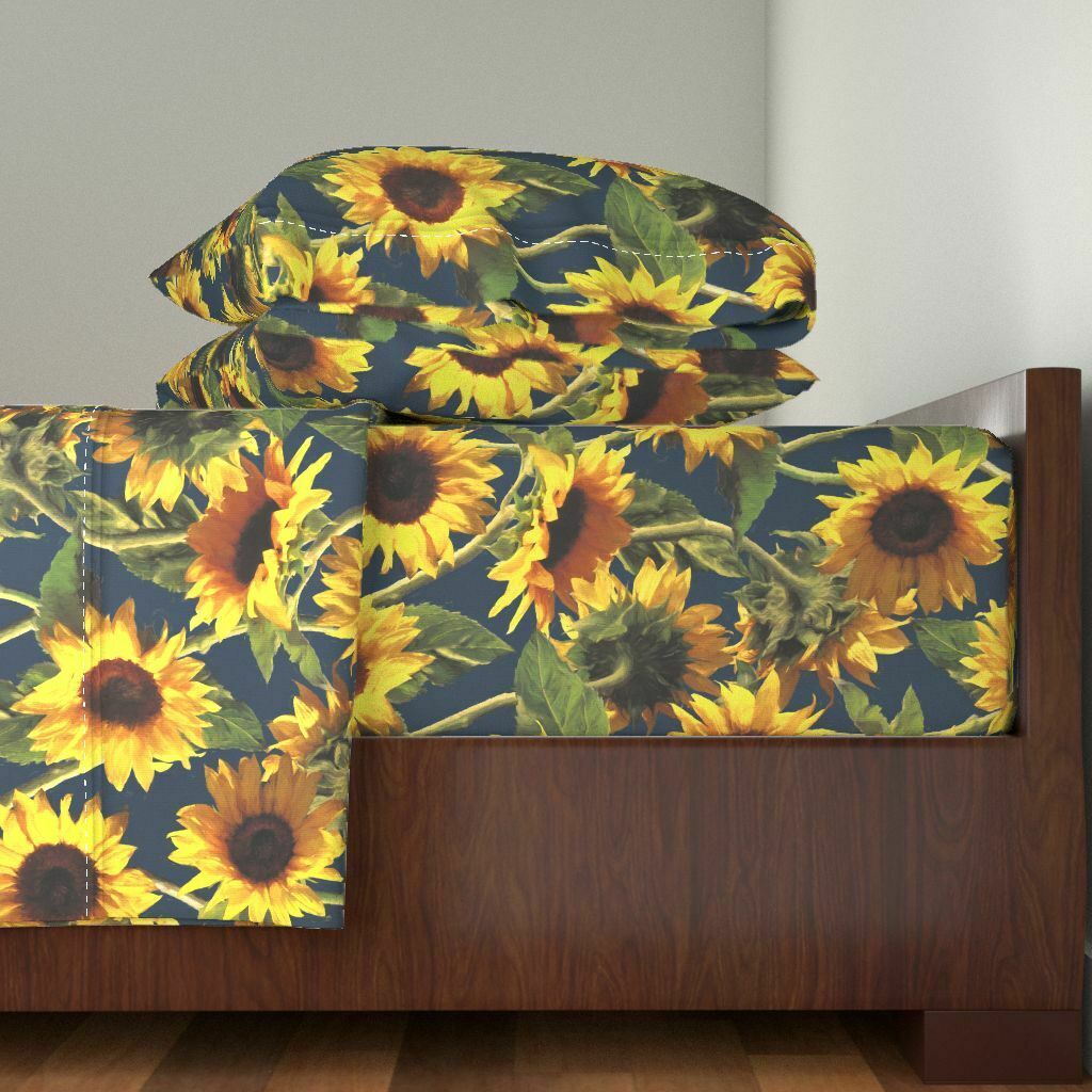Sunflower Summer Floral Boho Bohemian 100% Cotton Sateen Sheet Set by Roostery
