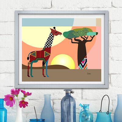 African Safari Giraffe Art Poster Home Decor Painting Landscape Print Poster Ebay