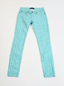 Levi-s-524-Too-SuperLow-Skinny-Diamond-Print-Jeans-Juniors-Size-5M-27-x-32-Aqua