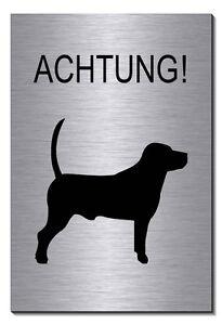 vorsicht achtung hund aluminium edelstahl optik schild 15 x 10cm warnschild tier ebay. Black Bedroom Furniture Sets. Home Design Ideas