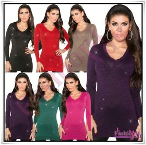 Womens-Long-Jumper-Sweater-Ladies-Pullover-Casual-Jumper-Dress-One-Size-8-14-UK