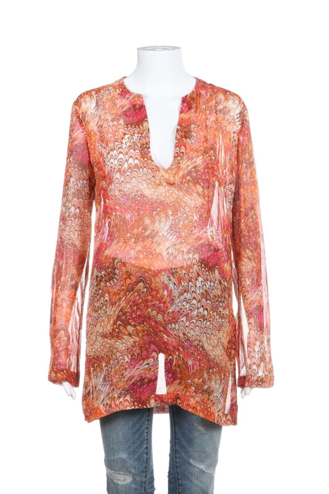 CELINE Tunic Blouse 8 Medium 100% Silk Orange Rosa Sheer Shirt Long Sleeve Top