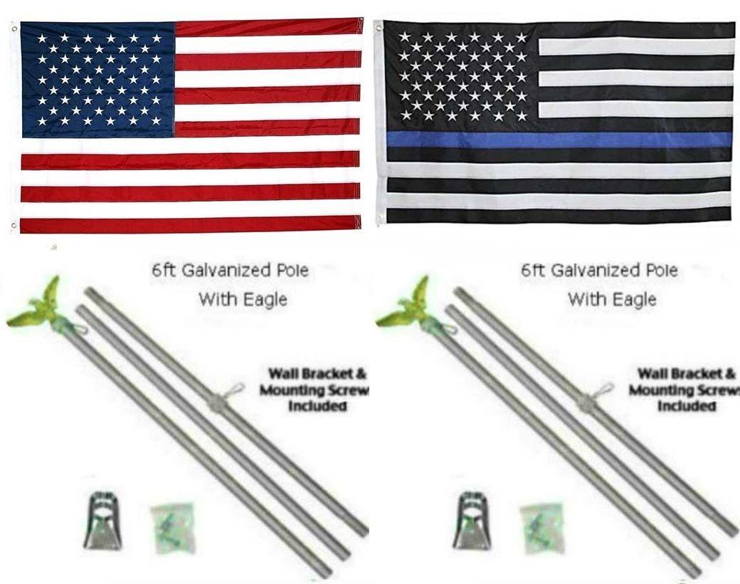 3x5 USA & Dünn Blaue Linie Bestickt Bestickt Bestickt Nylon Flagge Verzinkt Poliger Set 0.9mx5' 155690