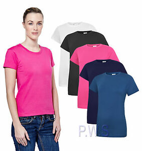 Uneek-Ladies-Classic-Crew-Neck-T-Shirt-100-Cotton-Womans-Tee-Gym-Top-UC318