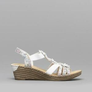 Details about Rieker 62461 91 Ladies Elasticated Wedge Heel Sandals Floral WhiteMulti
