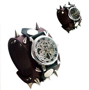 Dark-Red-Leather-Wrist-band-watch-with-black-silver-stud-GOTHIC-Mechanical