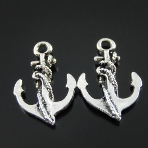 **10X Vintage Style Antique Silver Color Anchor Pendant Charms Findings