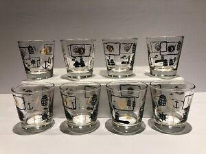 Set-8-Vintage-Dominion-Glass-Co-Canada-Whiskey-Glasses-Black-Gold