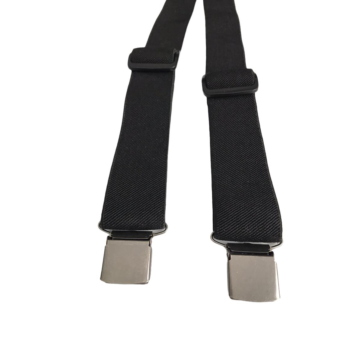 Men's Black Thick Y-Shape 3-Chunky Clip Adjustable Braces Suspenders