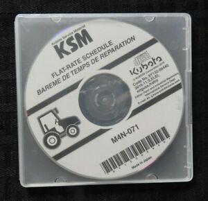 GENUINE KUBOTA M4N-071 TRACTOR FLAT RATE SCHEDULE MANUAL CD