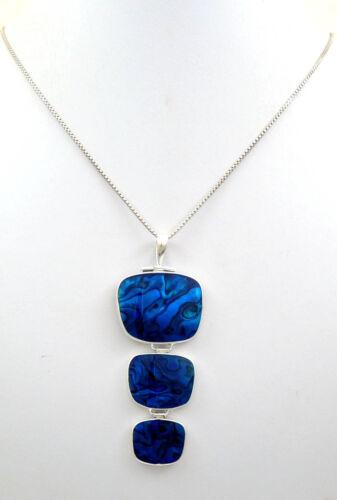Naturel Bleu Coquille D/'Haliotide 925 Pendentif En Argent Sterling Fait Main Bijoux SC168