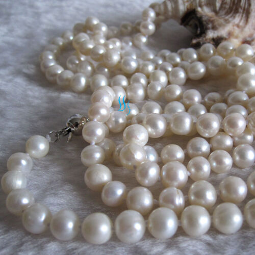 """52/"""" 5-7mm White Cultured Freshwater Pearl Necklace Off Round Jewelry"""