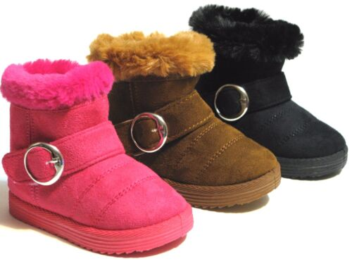 New-Baby-Toddler-And youth Girls-Winter-Boots-Faux-Fur-Suede-Shoes-Size-6-11
